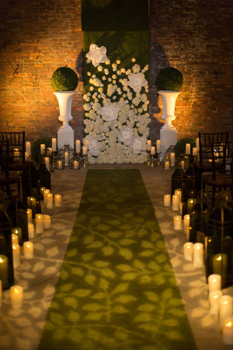 Trendy Modern Wedding at Boston Winery in Boston, MA With Creative Lighting Wedding Aisle Décor