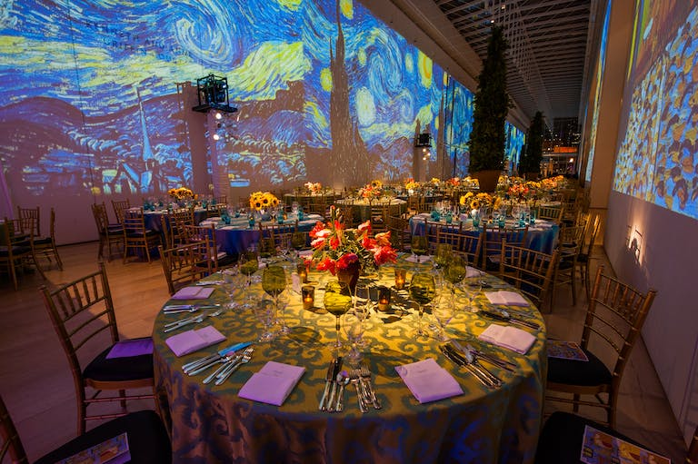 Van gogh starry night theme seating opening gala at The Art Institute of Chicago | PartySlate