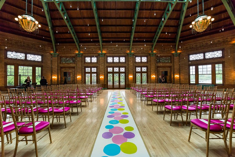 Vibrant & Colorful Wedding @ Cafe Brauer With Creative Wedding Aisle Décor
