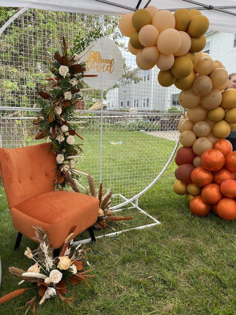 Autumn theme arch balloon installation | PartySlate