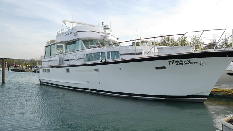 68-foot-long docked boat in Lake Michigan | PartySlate