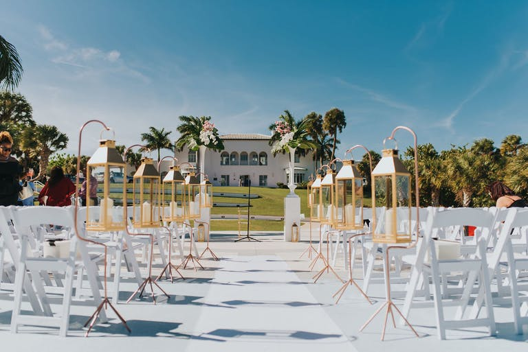 Modern Glamour at Mansion at Tuckahoe in Jensen Beach, FL With Lantern Wedding Aisle Décor