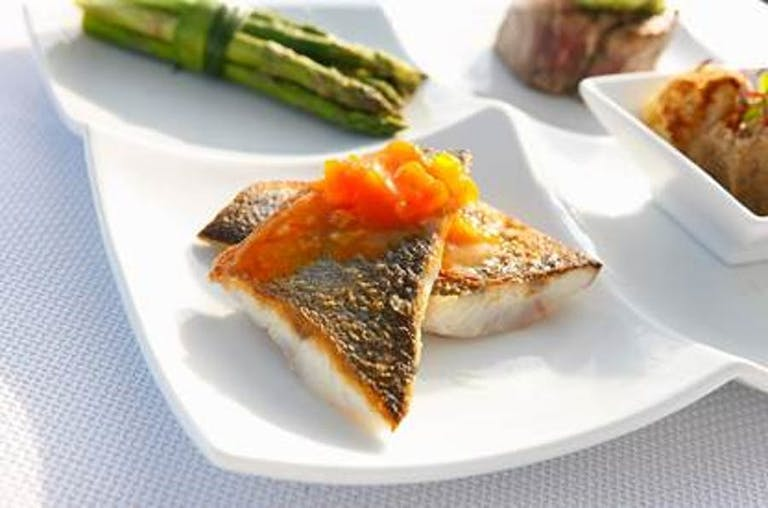 Entree and side served on white plate | PartySlate