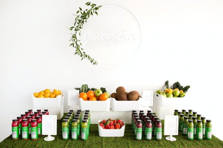 Geometric decor and orderly arrangements of food and drinks by flavor | PartySlate