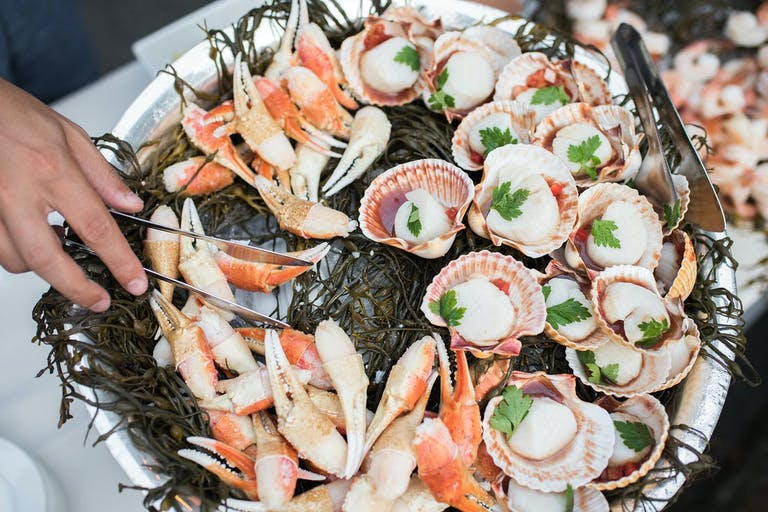Silver platter of clams and lobster | PartySlate