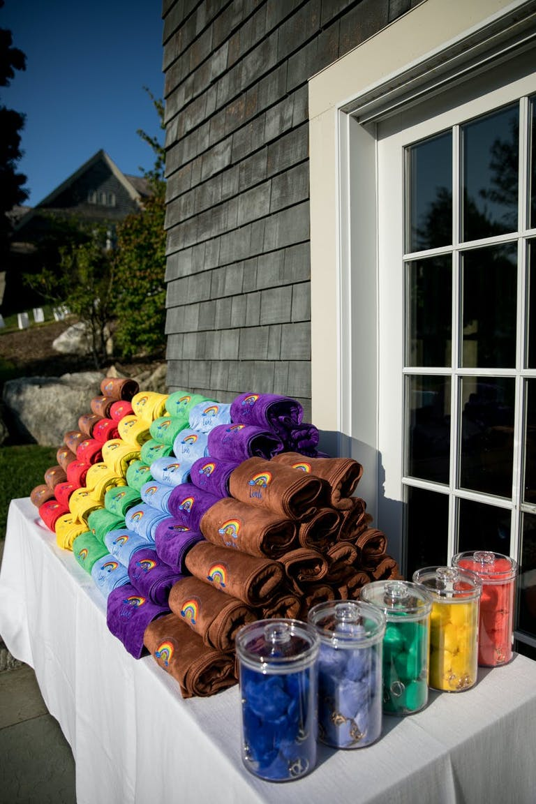 Rainbow stacked guest towels | PartySlate