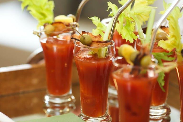 Mini bloody marys on a serving platter   PartySlate