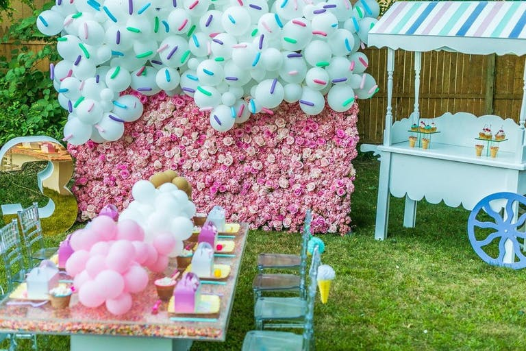 Candy themed birthday party with pink and blue decor | PartySlate