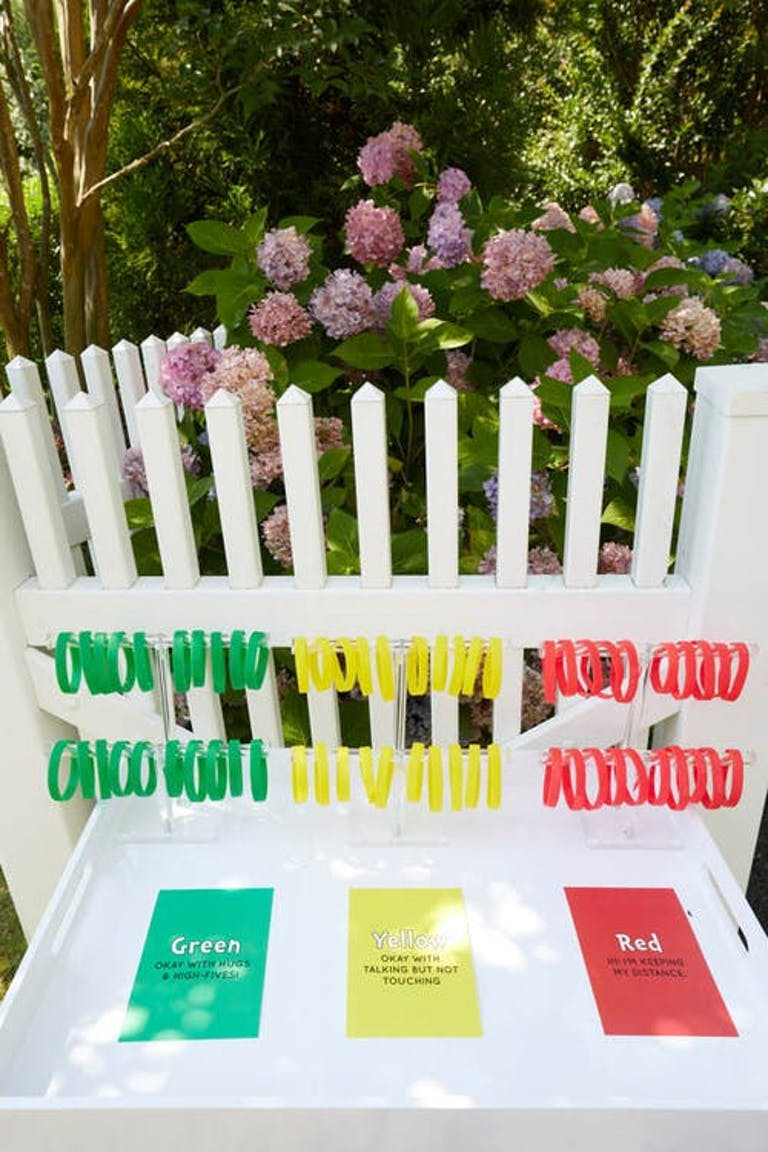Green, yellow, red display of color coded wristbands | PartySlate