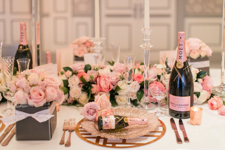 PRODUCT DINNER FOR MOET CHAMPAGNE WITH BRIDES MAGAZINE at The Savoy Hotel in London, UK