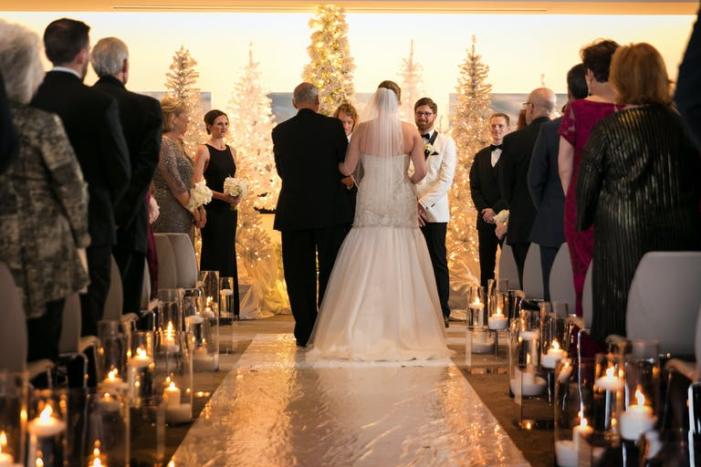 Winter Wedding with silver foil wedding aisle décor