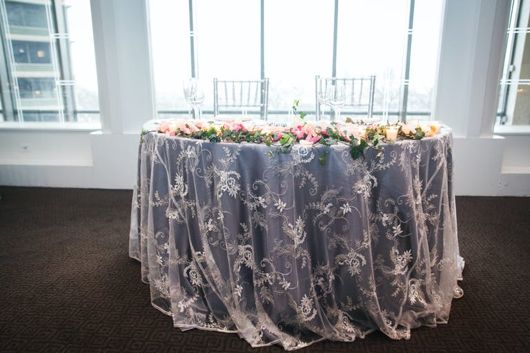 Glamorous Sweetheart Table in Silver Gray Spring Wedding Color Palette