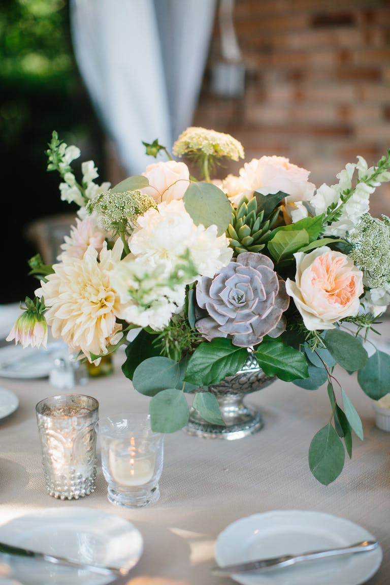 Alfresco Summer Wedding at the Chicago Botanic Garden in Glencoe, IL With Floral and Succulent Wedding Centerpieces