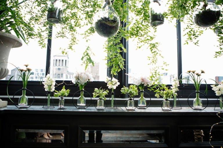 An Elegant Wedding at the Gramercy Park Hotel With Suspended Succulent Terrarium Centerpieces.