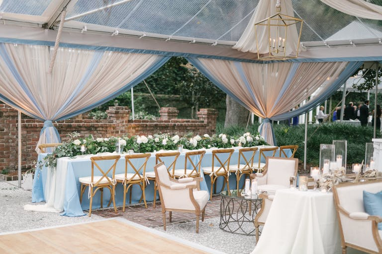 Tented Wedding with Cornflower Blue and White Spring Wedding Colors