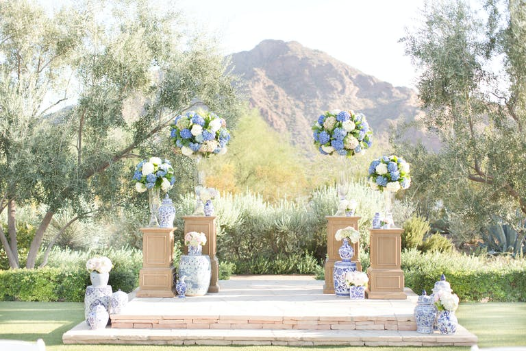 Beautiful Outdoor Wedding With Blue Hydrangeas and Pastel Spring Wedding Colors