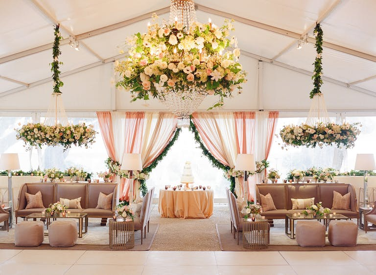 Tented Wedding and Lounge Area with Rose and Green Spring Wedding Colors