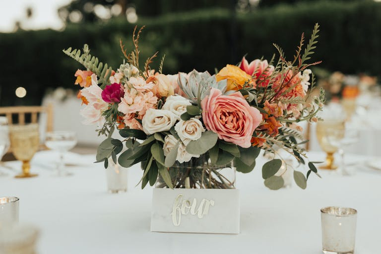 Chic Desert Wedding at Ingleside Inn in Palm Springs, CA With Floral and Succulent Wedding Centerpieces