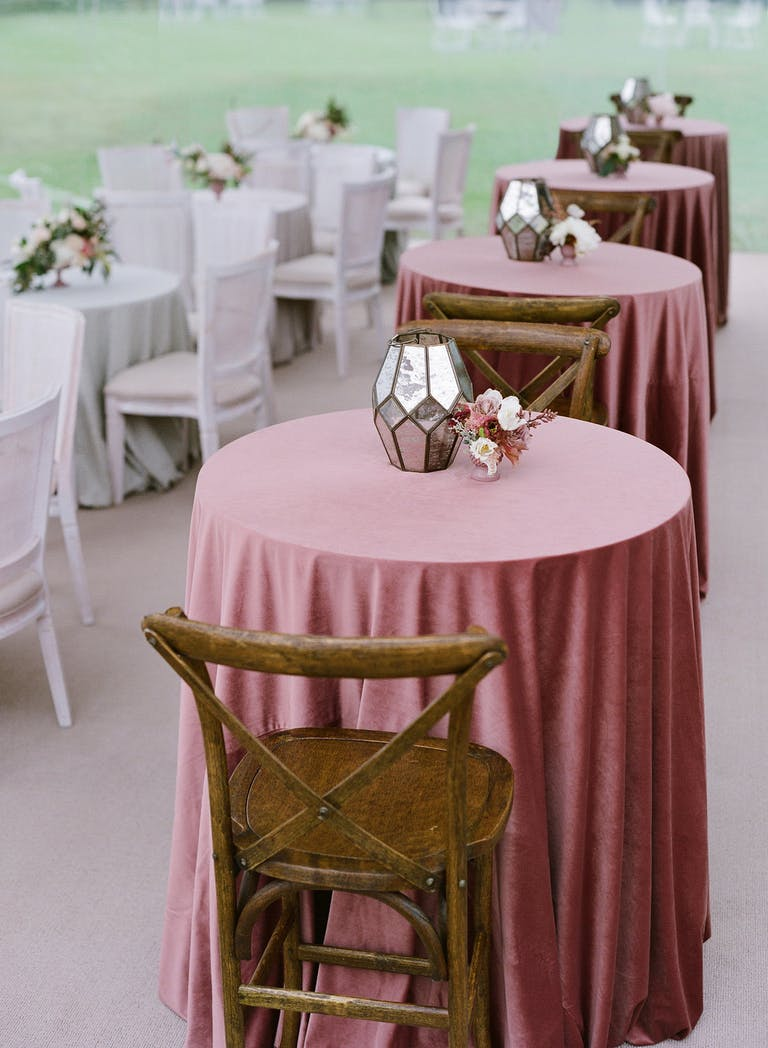 Darling Tented Wedding at the Gasparilla Inn in Boca Grande, FL With Cocktail Tables in Dusty-Rose Spring Wedding Color Palette