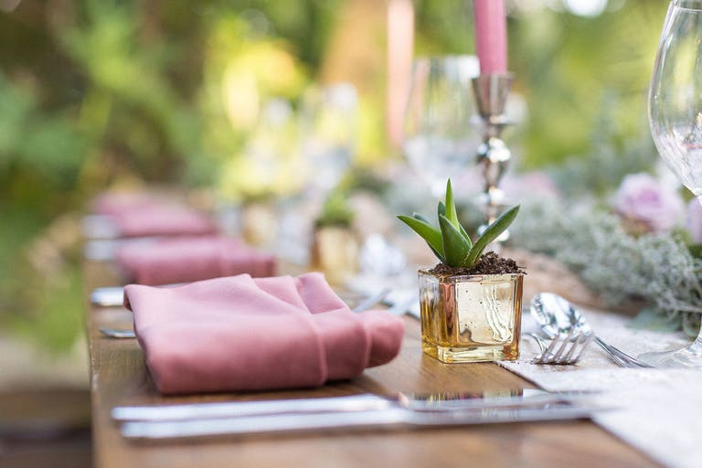 Delicate Pink Wedding at Miami Beach Edition in Miami Beach, FL With Succulent Centerpieces