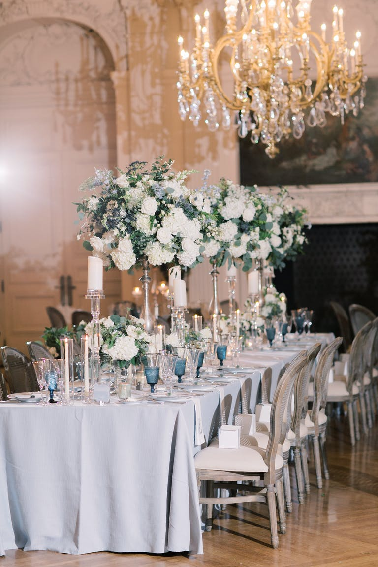 Elegant Ballroom Wedding at the Newport Mansion in Newport, RI with Soft Blue and White Spring Wedding Colors