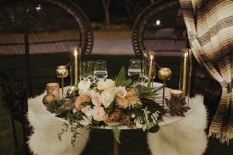 Elegant Desert Wedding at Colony 29 in Palm Springs, CA With Floral and Succulent Wedding Centerpieces and Candle Light.