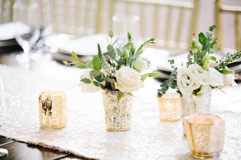 Intimate Spring Wedding Tablescape With Champagne and Light-Daisy Spring Wedding Color Palette