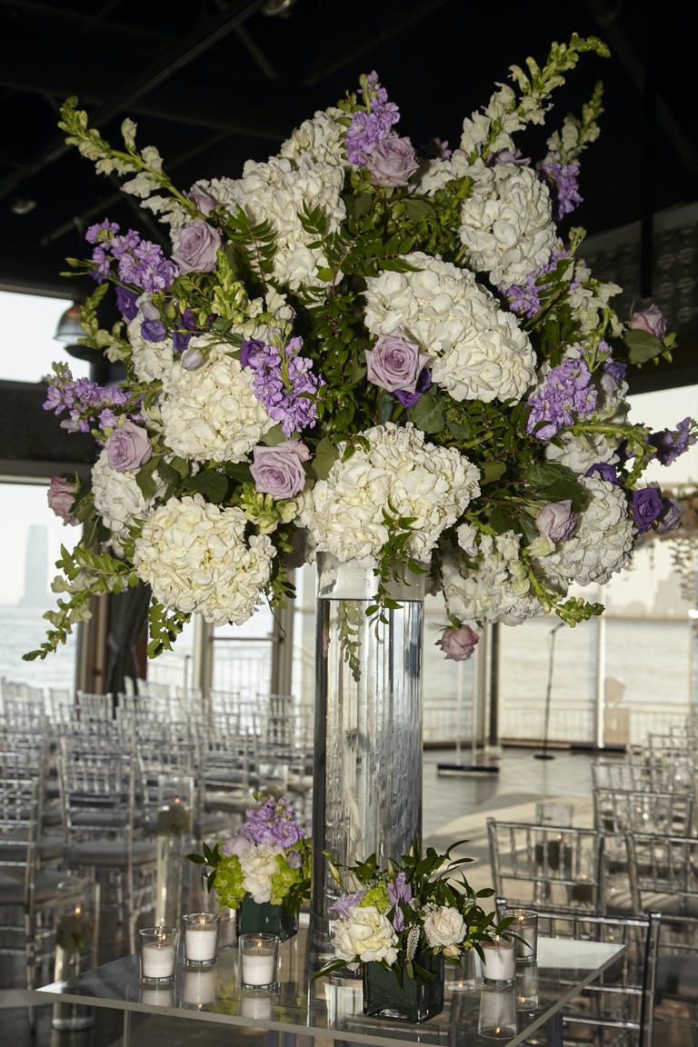 Centerpieces with White, Purple, and Green Spring Wedding Colors