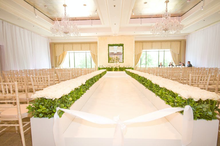 Lush White Wedding at Four Seasons Hotel Boston in Boston, MA With Unique Wedding Aisle Décor