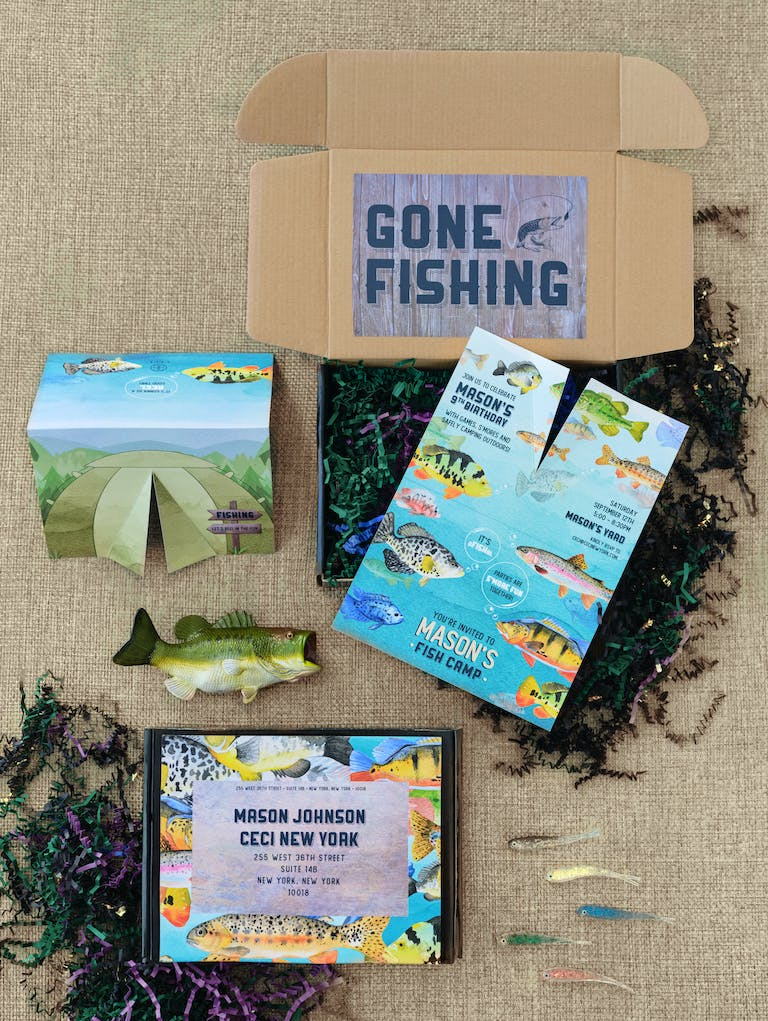 Mason's Social Distanced Fish Camp Birthday Party in New York With Invitation Box