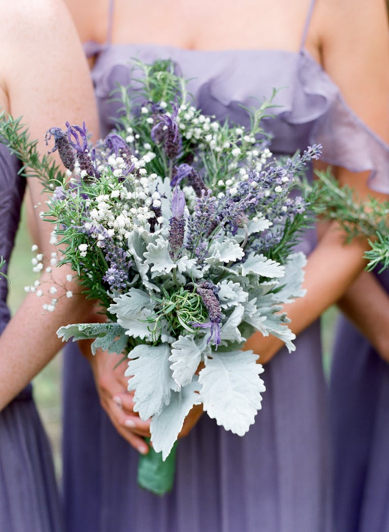 Outdoor Woodland Wedding with Bouquets in Lavender Spring Wedding Color Palette