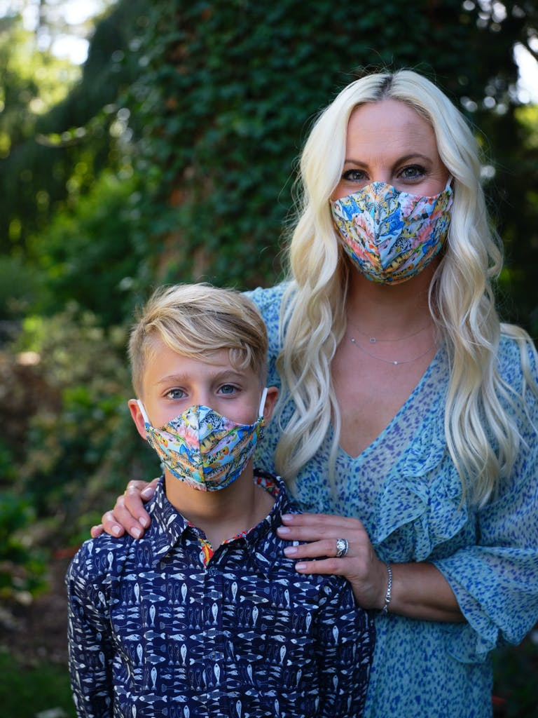 2021 trend women and son with masks on | PartySlate