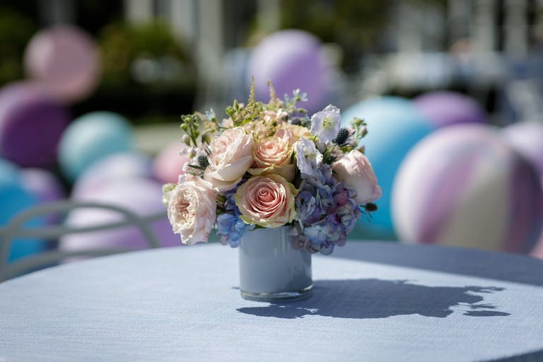 Blue mini vase with florals | PartySlate