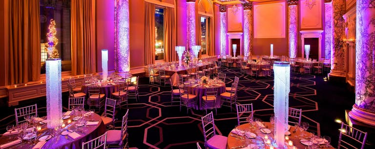 San Francisco Wedding Venue with upscale decor and pink and orange lighting | PartySlate
