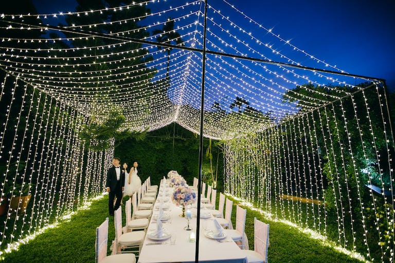 Glamorous large string light tent 2021 trend | PartySlate
