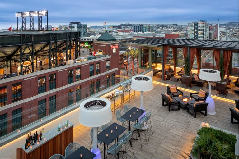 San Francisco wedding venue rooftop with fire pits and cabanas | PartySlate