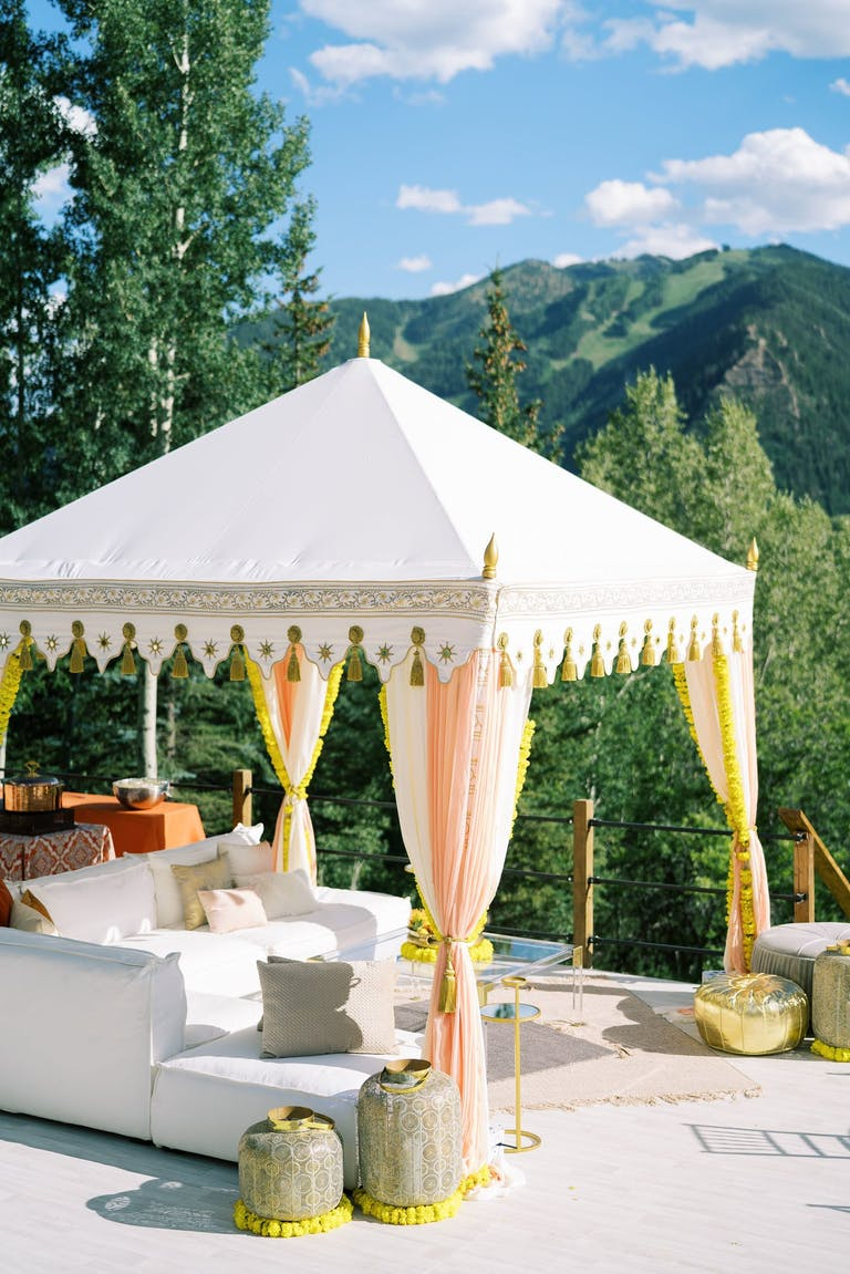 2021 trend open cabana with a mountain top view | PartySlate