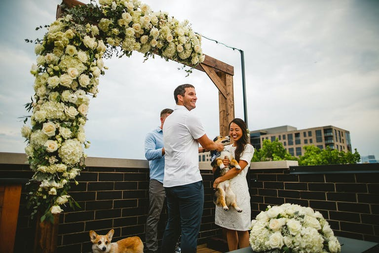 Wedding ceremony featuring a corgi 2021 trend | PartySlate