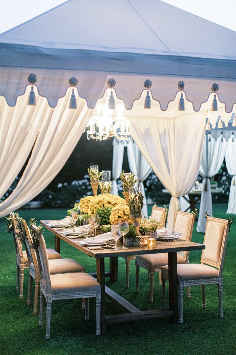 2021 trend small cabanas covering a dinner party | PartySlate