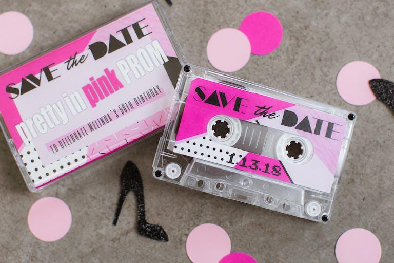 Pretty In Pink 50th Birthday With Retro Cassette Invitation Box.