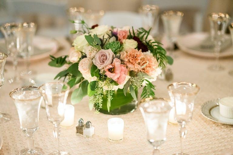 Romantic Outdoor Wedding at Desert Botanical Garden in Phoenix, AZ With Floral And Succulent Wedding Centerpieces