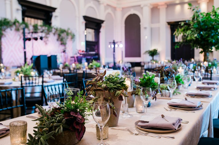 Romantic Outdoor Wedding at Sagamore Pendry Baltimore in Baltimore, MD With Greenery And Succulent Wedding Centerpieces