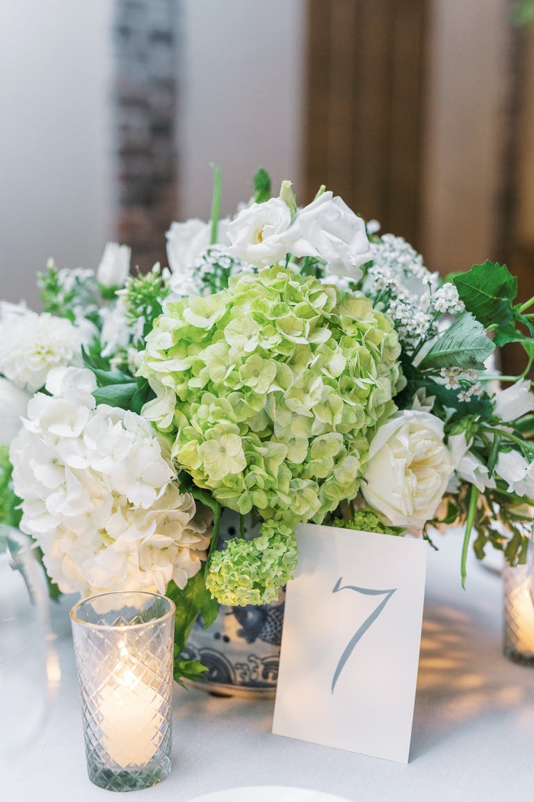 Close Up of Pale Green and White Hydrangea Wedding Centerpieces