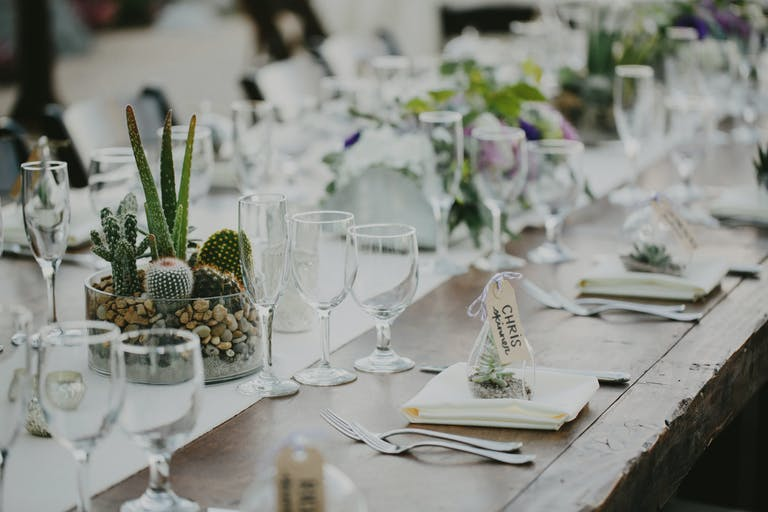 Stylish Desert Wedding With Cactus Centerpieces.