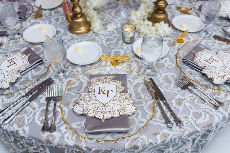 Wedding Reception Table in Silver and Gold Spring Wedding Colors