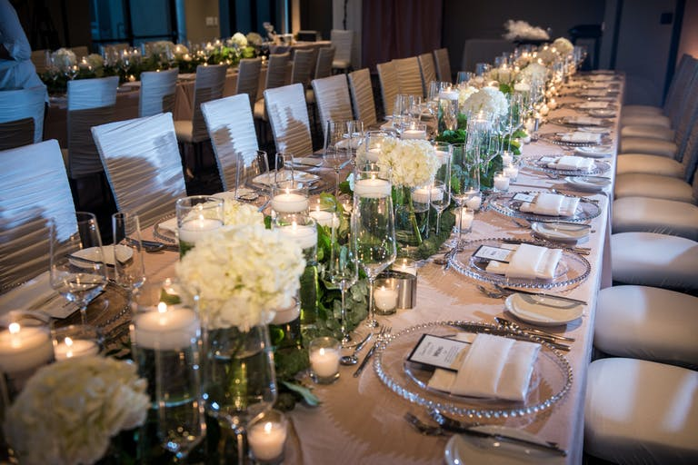 White Floral Wedding at Sanctuary Camelback Mountain Resort in Paradise Valley, AZ With Hydrangea Wedding Centerpieces