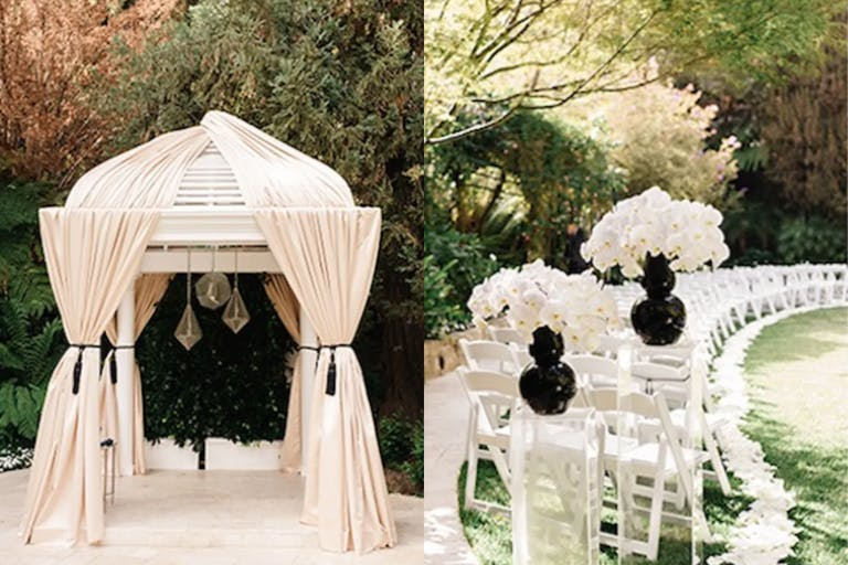 Outdoor Wedding Ceremony With Black and White Wedding Décor | PartySlate