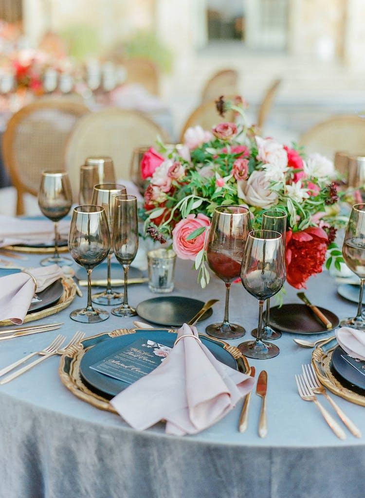 Dusty Rose, Gray, Black & Red Vineyard Wedding