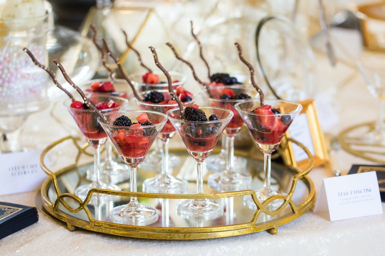 Fruity Desserts in Martini Glasses at a Gatsby Themed Bridal Shower | PartySlate