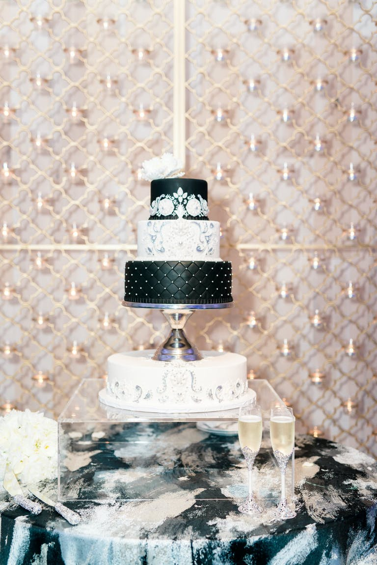 Black and White Tiered Wedding Cake | PartySlate